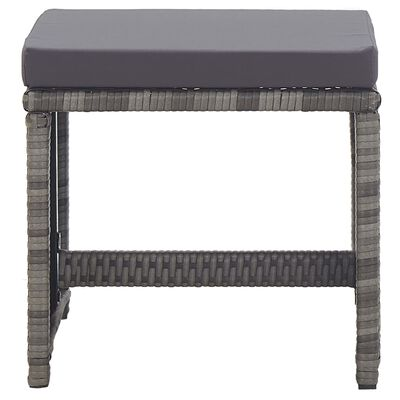 vidaXL Garden Stools 2 pcs with Cushions Poly Rattan Anthracite