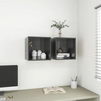 vidaXL Wall Cabinet High Gloss Grey 37x37x37 cm Chipboard