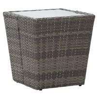 vidaXL Tea Table Grey 41.5x41.5x43 cm Poly Rattan and Tempered Glass