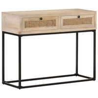vidaXL Console Table 100x35x76 cm Solid Mango Wood and Natural Cane
