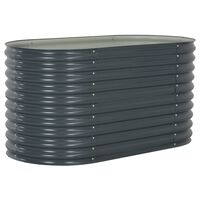 vidaXL Garden Raised Bed 160x80x81 cm Galvanised Steel Grey
