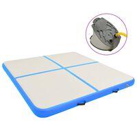 vidaXL Inflatable Gymnastics Mat with Pump 200x200x10 cm PVC Blue