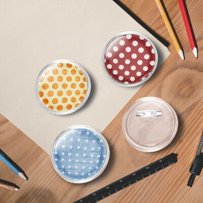 vidaXL Button Badges Kit with Pins 100 Sets Acrylic 58 mm