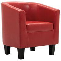 vidaXL Tub Chair Red Faux Leather