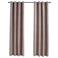 vidaXL Blackout Curtains with Metal Rings 2 pcs Taupe 140x225 cm