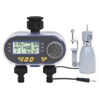 vidaXL Digital Water Timer with Dual Outlet and Rain Sensor