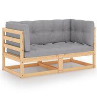 vidaXL 2-Seater Garden Sofa with Cushions Solid Pinewood