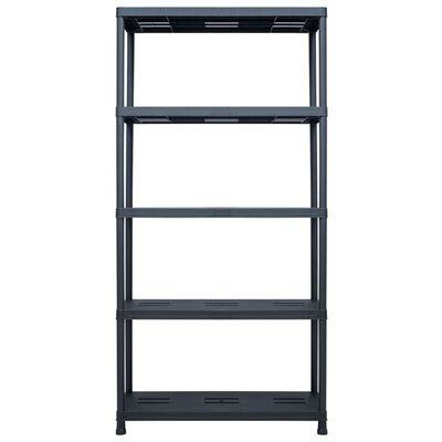 vidaXL Storage Shelf Rack Black 260 kg 90x40x180 cm Plastic