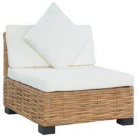 vidaXL Armless Sofa with Cushions Natural Rattan