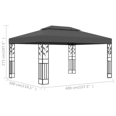 vidaXL Gazebo with Double Roof 3x4m Anthracite