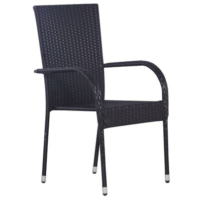 vidaXL Stackable Outdoor Chairs 6 pcs Poly Rattan Black