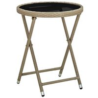 vidaXL Tea Table Beige 60 cm Poly Rattan and Tempered Glass