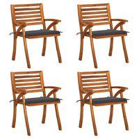 vidaXL Garden Chairs with Cushions 4 pcs Solid Acacia Wood