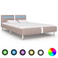 vidaXL Bed Frame with LED Cappuccino Faux Leather King Single