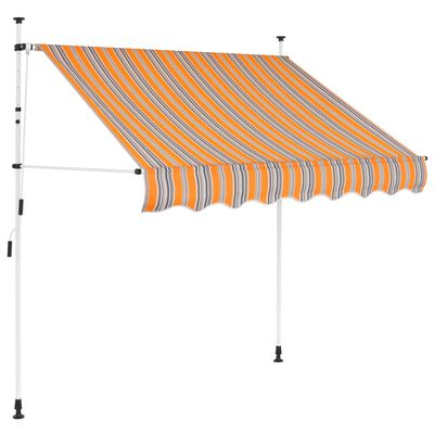 vidaXL Manual Retractable Awning 150 cm Yellow and Blue Stripes