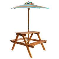 vidaXL Kids Picnic Table with Parasol 79x90x60 cm Solid Acacia Wood