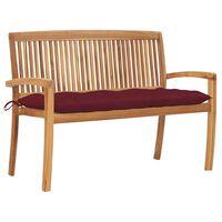 vidaXL Stacking Garden Bench with Cushion 128.5 cm Solid Teak Wood