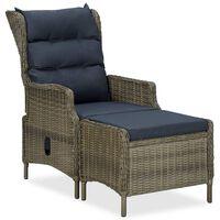 vidaXL Reclining Garden Chair with Footstool Poly Rattan Brown