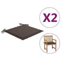 47604 vidaXL Garden Chair Cushions 2 pcs Taupe 50x50x4 cm