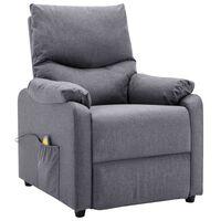 vidaXL Massage Recliner Light Grey Fabric
