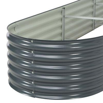 vidaXL Garden Raised Bed 400x80x44 cm Galvanised Steel Grey, Grey