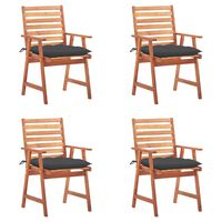 vidaXL Outdoor Dining Chairs 4 pcs with Cushions Solid Acacia Wood