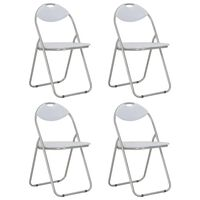vidaXL Folding Dining Chairs 4 pcs White Faux Leather