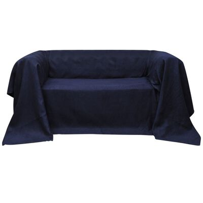 vidaXL Micro-suede Couch Slipcover Navy Blue 140 x 210 cm