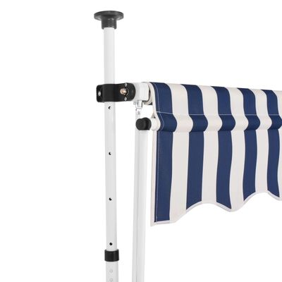 vidaXL Manual Retractable Awning 200 cm Blue and White Stripes