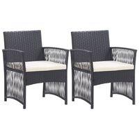 vidaXL Garden Armchairs with Cushions 2 pcs Black Poly Rattan