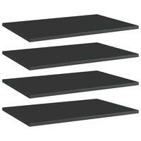 vidaXL Bookshelf Boards 4 pcs High Gloss Black 60x40x1.5 cm Chipboard