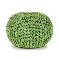 vidaXL Hand-Knitted Pouffe Cotton 50x35 cm Green