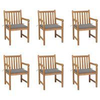 vidaXL Garden Chairs 6 pcs with Grey Cushions Solid Teak Wood