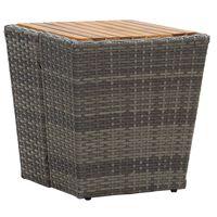 vidaXL Tea Table Grey 41.5x41.5x43 cm Poly Rattan and Solid Acacia Wood