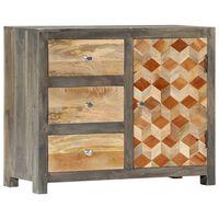 vidaXL Side Cabinet Grey 75x30x60 cm Solid Mango Wood