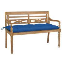 vidaXL Batavia Bench with Blue Cushion 120 cm Solid Teak Wood