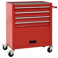 vidaXL Tool Trolley with 4 Drawers Steel Red