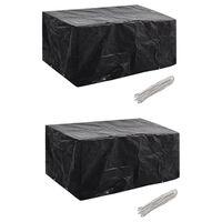 vidaXL Garden Furniture Covers 2 pcs 4 Person Poly Rattan Set 8 Eyelets 180x140cm