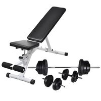 vidaXL Workout Bench with Barbell and Dumbbell Set 60.5 kg