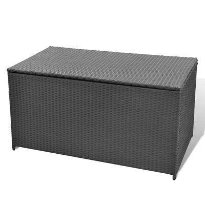 vidaXL Garden Storage Box Black 120x50x60 cm Poly Rattan