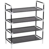 vidaXL Shoe Rack with 4 Shelves Metal and Non-woven Fabric Black