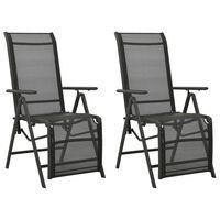 vidaXL Reclining Garden Chairs 2pcs Textilene and Aluminium Black