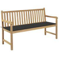 vidaXL Garden Bench with Anthracite Cushion 150 cm Solid Teak Wood