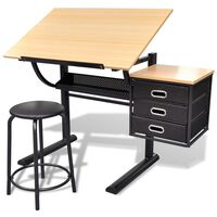 vidaXL Three Drawers Drawing Table with Stool