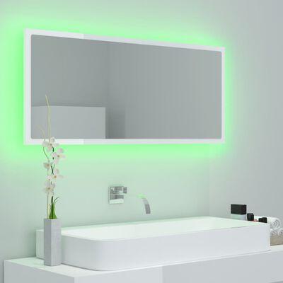 vidaXL LED Bathroom Mirror High Gloss White 100x8.5x37 cm Chipboard