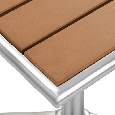 vidaXL Garden Table Silver 60x60x70 cm Aluminium and WPC