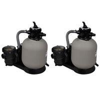 vidaXL Sand Filter Pumps 2 pcs 600 W 17000 l/h