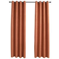 vidaXL Blackout Curtains with Metal Rings 2 pcs Rust 140x245 cm