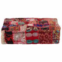 vidaXL Patchwork Pouffe Square Cotton Handmade 50x50x12 cm Red
