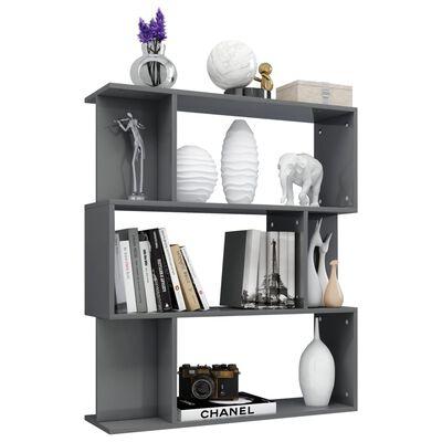 vidaXL Book Cabinet/Room Divider High Gloss Grey 80x24x96 cm Chipboard, Highglossgrey